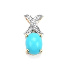Sleeping Beauty Turquoise Pendant with Diamond in 10K Gold 1cts