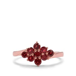 Octavian Garnet Ring in Rose Gold Plated Sterling Silver 1.09cts