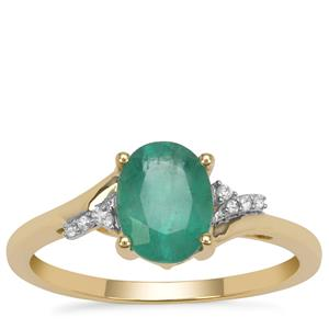 Kafubu Emerald Ring with White Zircon in 9K Gold 1.20cts