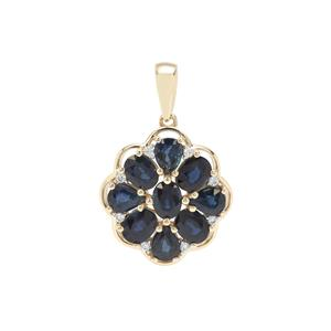 Natural Nigerian Blue Sapphire Pendant with White Zircon in 9K Gold 3.33cts