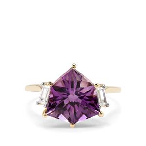 Alpine Cut Bahia Amethyst & White Zircon 9K Gold Ring ATGW 4.62cts