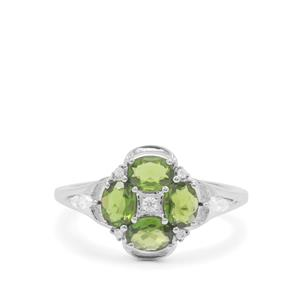 Chrome Diopside & White Zircon Sterling Silver Ring ATGW 1.43cts