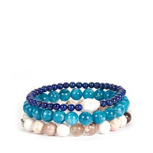 Kaori Cultured Pearl, Apatite, Grey Agate Stretchable Bracelet with Lapis Lazuli