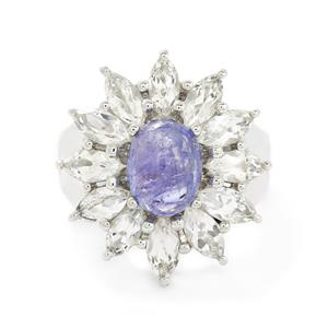 Tanzanite & White Topaz Sterling Silver Ring ATGW 5.34cts