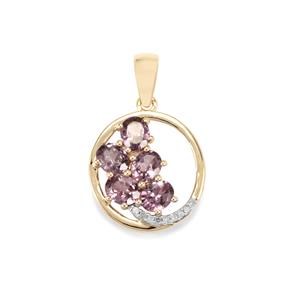 Mahenge Pink Spinel Pendant with Diamond in 10K Gold 1.81cts