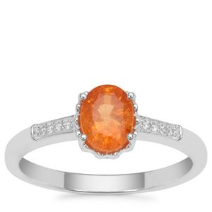 Mandarin Garnet Ring with White Zircon in Sterling Silver 1.20cts
