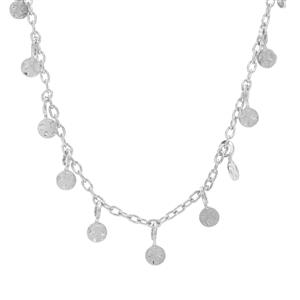 """18"""" Sterling Silver Altro Hammered Disk Necklace 4.05g"""