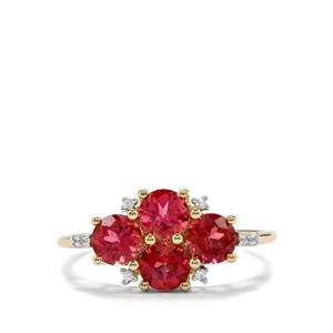 Cruzeiro Rubellite Ring with White Zircon in 9K Gold 1.45cts