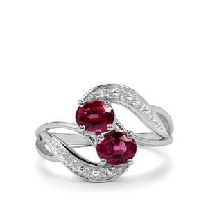 Malawi Garnet Ring with White Topaz in Sterling Silver 1.58cts