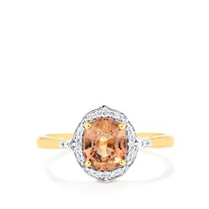 Padparadscha Sapphire Ring with Diamond in 18K Gold 1.78cts