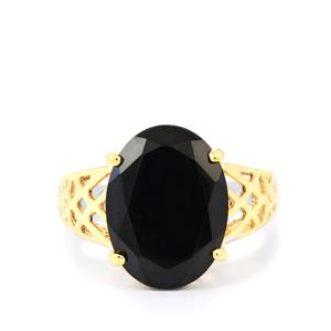 Black Spinel Ring in Two Tone Gold Plated Sterling Silver 8.50cts