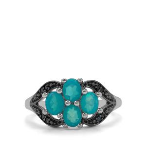 Ethiopian Paraiba Blue Opal Ring with Blue Diamond in Sterling Silver 0.87cts