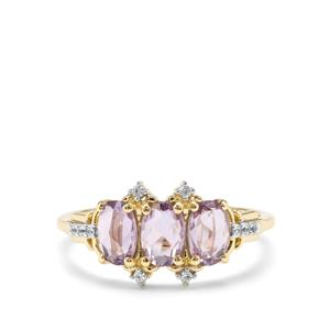 Rose Cut Purple Sapphire & White Zircon 9K Gold Ring ATGW 1.27cts