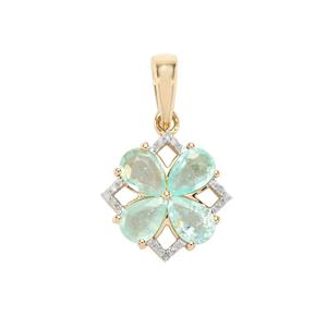 Paraiba Tourmaline Pendant with Diamond in 10K Gold 1.47cts
