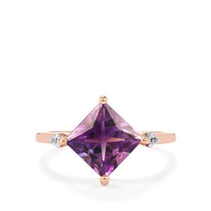 Moroccan Amethyst & White Zircon 10K Rose Gold Ring ATGW 2.33cts