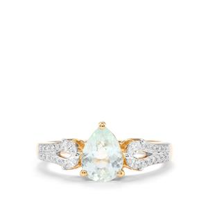 Paraiba Tourmaline Ring with Diamond in 18K Gold 1.26cts