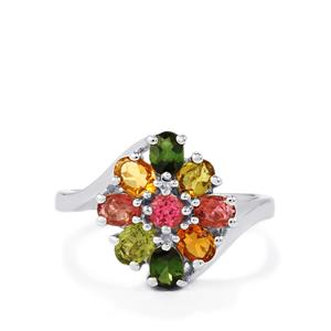 Rainbow Tourmaline Ring in Sterling Silver 1.41cts