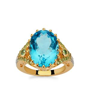 Swiss Blue Topaz, Tsavorite Garnet Ring with White Zircon in Gold Plated Sterling Silver 11.85cts