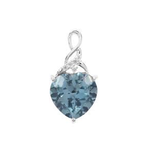 Versailles Topaz Pendant with White Zircon in Sterling Silver 4.50cts