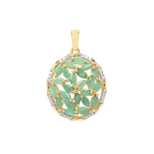 Carnaiba Brazilian Emerald Pendant with White Zircon in Gold Plated Sterling Silver 2.07cts