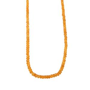 Orange American Fire Opal Graduated Bead Necklace in Sterling Silver 35cts