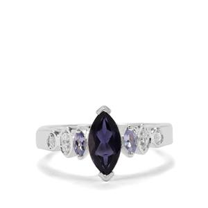 Bengal Iolite, Tanzanite & White Zircon Sterling Silver Ring ATGW 1.05cts