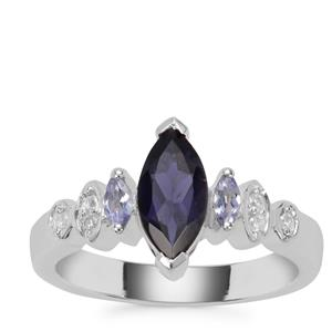 Bengal Iolite, Tanzanite Ring with White Zircon in Sterling Silver 1.05cts