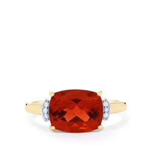 Tarocco Red Andesine Ring with Diamond in 9K Gold 2.49cts