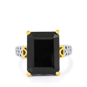 Black Spinel Ring in Two Tone Gold Plated Sterling Silver 15cts