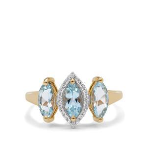 Santa Maria Aquamarine & White Zircon 9K Gold Ring ATGW 1.45cts