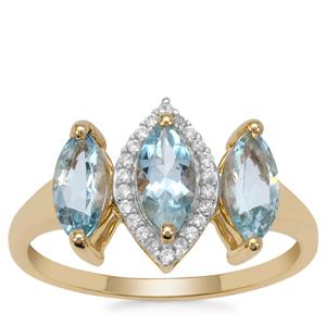 Santa Maria Aquamarine Ring with White Zircon in 9K Gold 1.45cts