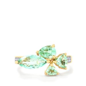 Paraiba Tourmaline Ring with Diamond in 9K Gold 1.96cts
