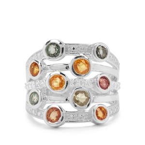 Tunduru Multi-Colour Sapphire & White Zircon Sterling Silver Ring ATGW 2.66cts