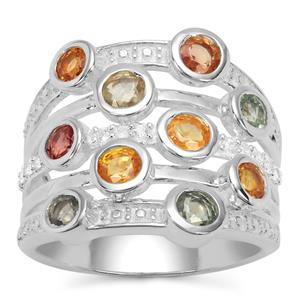 Tunduru Multi-Colour Sapphire Ring with White Zircon in Sterling Silver 2.66cts