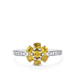 Ambilobe Sphene Ring with White Zircon in 10k White Gold 0.98cts