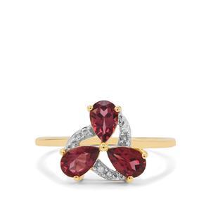 Malaya Garnet Ring with Diamond in 9K Gold 1.45cts
