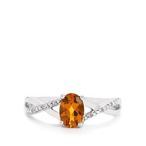Yellow Tourmaline Ring with Diamond in 9K White Gold 0.80cts
