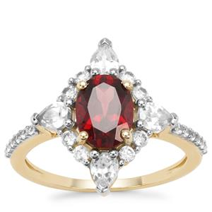 Mahenge Red Garnet Ring with White Zircon in 9K Gold 2.91cts