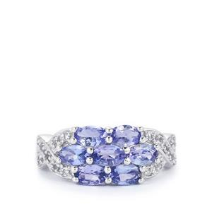 Tanzanite Ring with White Topaz in Sterling Silver 1.81cts
