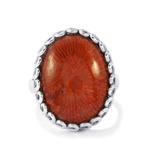 Fossil Red Coral Ring in Sterling Silver 13cts