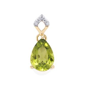 Changbai Peridot Pendant with White Zircon in 10k Gold 2.55cts