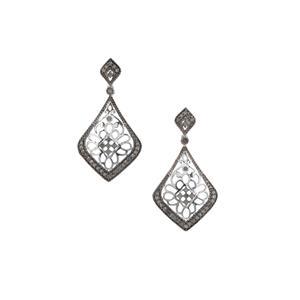 Grey Diamond Earrings in Sterling Silver 1cts