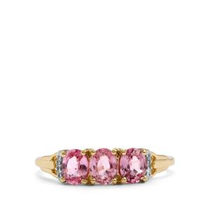 Sakaraha Pink Sapphire Ring with Diamond in 10K Gold 1.39cts