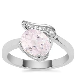 Kolum Kunzite Ring with White Zircon in Sterling Silver 2.75cts