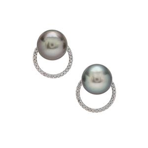 Tahitian Cultured Pearl Earrings with White Zircon in 9K Gold (9mm)