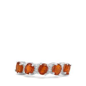 Loliondo Orange Kyanite & White Zircon Sterling Silver Ring ATGW 2.59cts