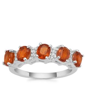 Loliondo Orange Kyanite Ring with White Zircon in Sterling Silver 2.59cts