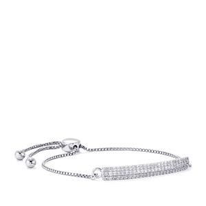 White Zircon Slider Bracelet in Sterling Silver 1.73cts