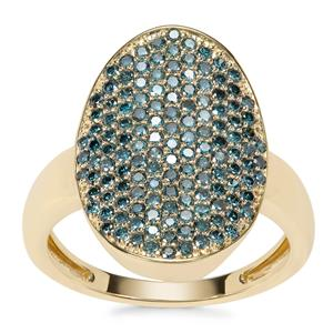 Blue Diamond Ring in 9K Gold 1ct