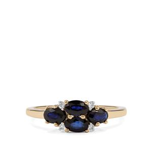 Sri Lankan Sapphire Ring with White Zircon in 10k Gold 1.15cts